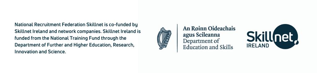 NEW June 2021 co-funded by Skillnet Ireland white blue banner
